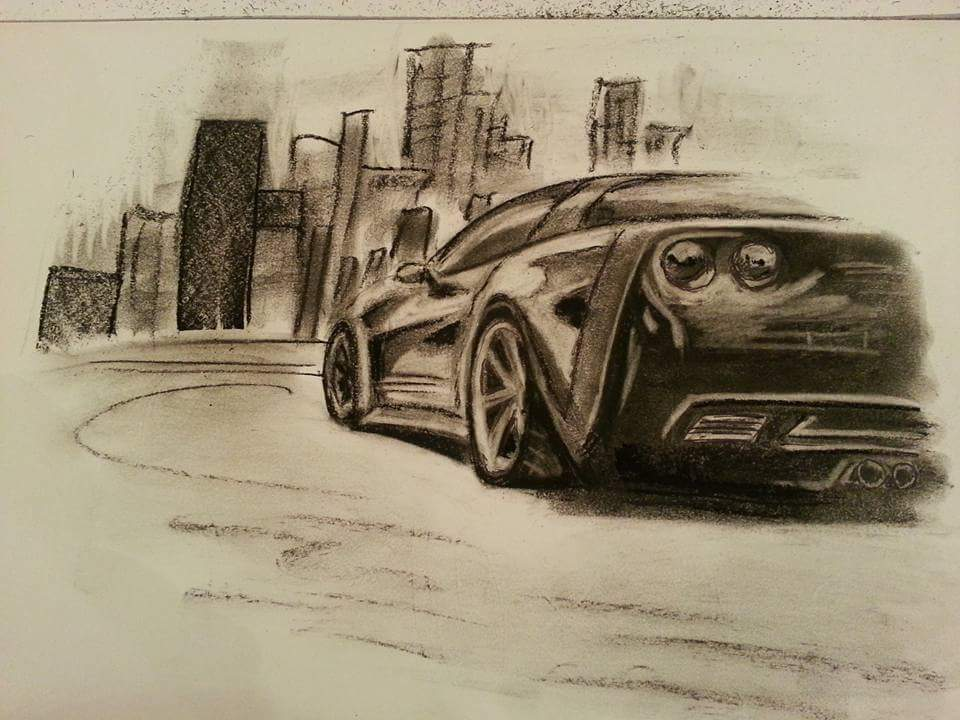 Mașina desenată in creion